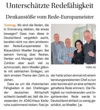 Unterschätzte Redefähigkeit aus dem Wochenblatt Karlsruhe / 20. Juni 2018